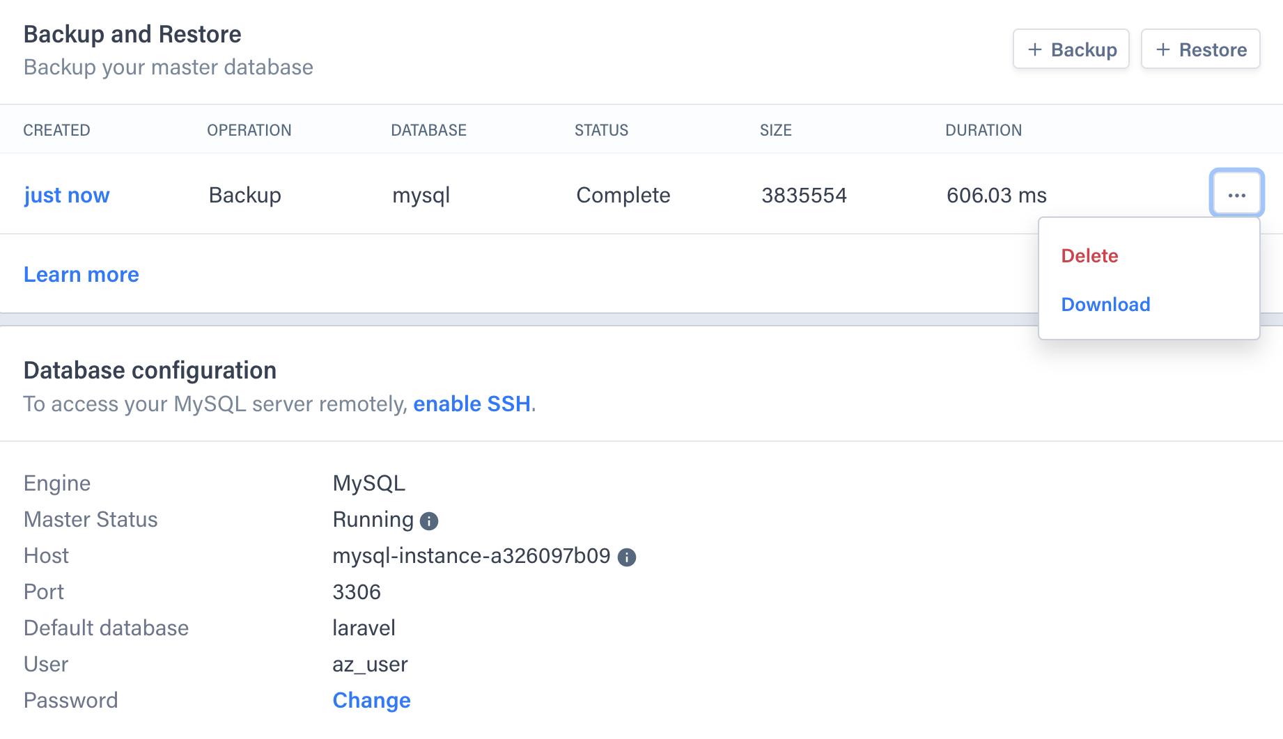Backup/Restore Screenshot